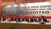 Paparan kinerja keuangan Bank Jatim pada Jumat (25/1/2019) (Foto: Merdeka.com/Dwi Aditya Putra)