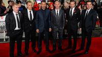 Kelas 92 Manchester United (MU) yakni Paul Scholes, Phil Neville, Ryan Giggs, Nicky Butt, David Beckham, dan Gary Neville (kiri ke kanan). (AFP/Leon Neal)