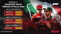 Jadwal dan Live Streaming F1 GP Italia 2021 di Vidio Pekan Ini, 10 -12 September 2021. (Sumber : dok. vidio.com)