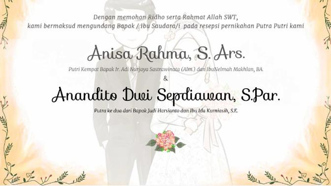 Undangan pernikahan Anisa Rahma dan Anandito Dwi Sepdiawan. (Istimewa)