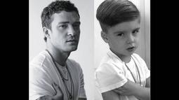 Ryker tampak meniru gaya busana dan pose penyanyi Justin Timberlake. (instagram.com/ministylehacker)