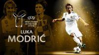 Gelandang Real Madrid, Luka Modric, mengungguli Cristiano Ronaldo dan Mohamed Salah. (UEFA)