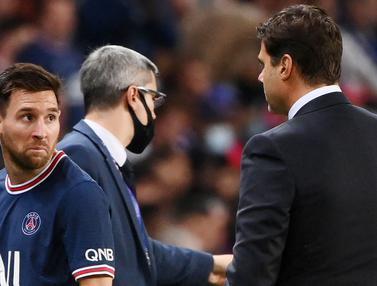 Foto: Ngambek Saat Diganti pada Laga PSG Kontra Lyon, Lionel Messi Enggan Jabat Tangan Mauricio Pochettino
