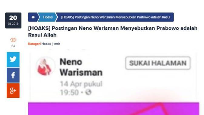 [Cek Fakta] Neno Warisman Sebut Prabowo Subianto Rasul Allah?