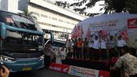 Menhub Budi Karya Sumadi lepas keberangkatan Mudik Bareng Honda 2018 (Liputan6.com/Yurike)