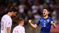 Jorginho mencetak gol penyeimbang untuk Italia dalam laga melawan Polandia. (dok. UEFA)