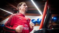 Zlatan Ibrahimovic berlatih di pusat olahraga AC Milan Milanello, Italia, Kamis (2/1/2020). Ibrahimovic didapat secara gratis oleh AC Milan pada bursa transfer musim dingin dari klub asal Amerika Serikat, LA Galaxy. (Claudio Furlan/LaPresse via AP)