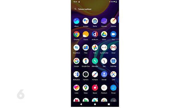Tampilan aplikasi pada V20 (screenshot)