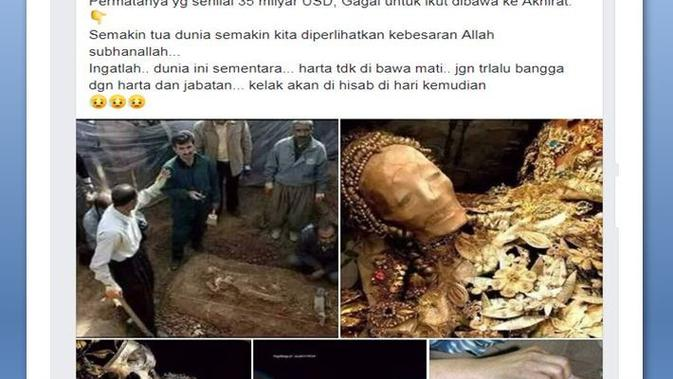 [Cek Fakta] Temuan Makam Raja dan Ratu Namrud Berlinang Perhiasan, Benarkah?
