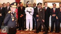 Mantan Kapolri Badroidin Haiti hadir dalam pelantikan Kapolri Tito Karnavian di Istana Negara, Jakarta, Rabu (13/7). Tito Karnavian resmi menjadi Kapolri menggantikan Jenderal Badrodin Haiti. (Liputan6.com/Faizal Fanani)