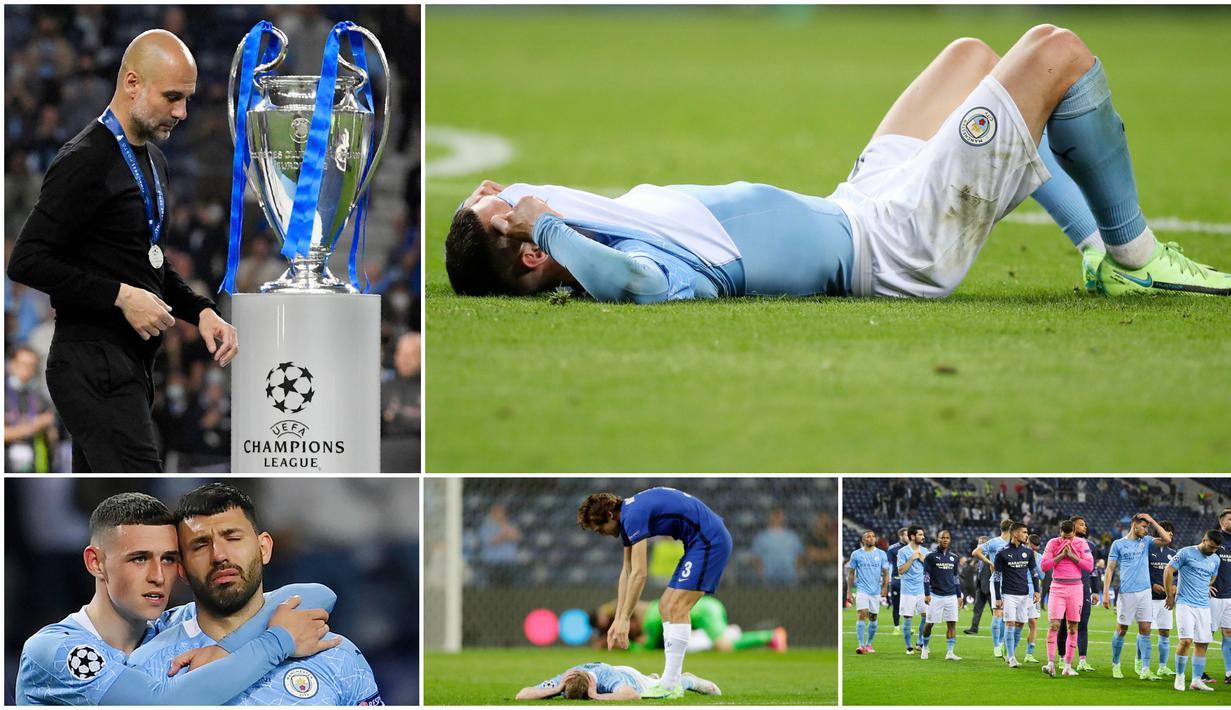 Para pemain Manchester City tak mampu menutupi kekecewaan usai ditaklukkan Chelsea pada laga final Liga Champions. Kekalahan ini membuat City kembali harus mengubur mimpi untuk menjadi klub terbaik di benua biru.