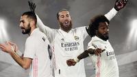 Sergio Ramos, Marcelo dan Karim Benzema. (Bola.com/Dody Iryawan)