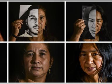 Kombinasi gambar yang dibuat pada 9 September 2020 ini para ibu yang kehilangan anak mereka dalam pembunuhan yang diduga oleh kelompok bersenjata. Pembunuhan kembali berdarah di pedesaan Kolombia. Korbannya kebanyakan masih muda. (Luis ROBAYO/AFP)