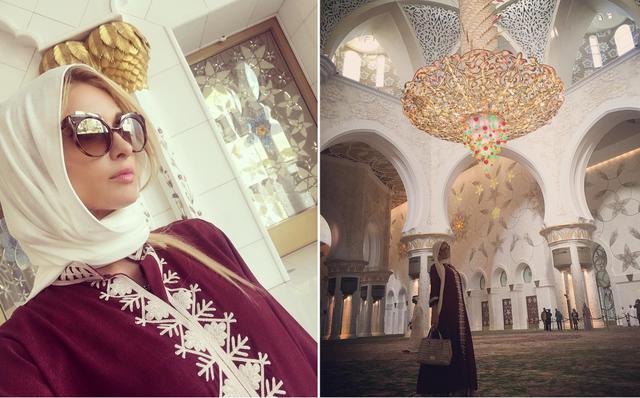 Paris Hilton mengunjungi Masjid Agung Sheikh Zayed di Abu Dhabi, Uni Emirat Arab. (Instagram/ parishilton - https://www.instagram.com/p/BNYkqfCA56E/ dan https://www.instagram.com/p/BNZkhCQAbzR/)
