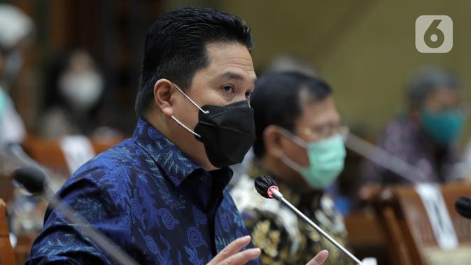 Ketua Pelaksana Komite Penanganan COVID-19 dan Pemulihan Ekonomi Nasional Erick Thohir saat rapat kerja dengan Komisi IX DPR di Kompleks Parlemen, Jakarta, Kamis (27/8/2020). Raker tersebut di antaranya membahas perkembangan tentang uji vaksin untuk COVID-19. (<a href=