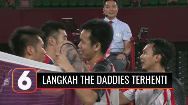 Target medali emas cabang bulu tangkis dari nomor ganda tak dapat terpenuhi setelah pasangan Hendra Setiawan-Mohammad Ahsan terhenti langkahnya di babak semi final. The Daddies kalah dari ganda putra Cina Taipei, dua gim langsung.