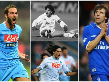 Berikut ini para penyerang terbaik dunia yang pernah berseragam Napoli. Diantaranya legenda Argentina, Diego Maradona. (Foto Kolase AP dan AFP)