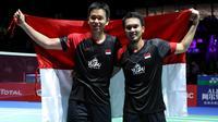 Ganda putra Indonesia, Mohammad Ahsan/Hendra Setiawan meraih gelar pada Kejuaraan Dunia Bulutangkis 2019, di Basel, Swiss, Minggu (25/8/2019) (PBSI)