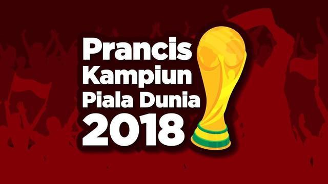 Jutaan warga Prancis bersuka cita setelah tim nasional mereka memenangkan trofi Piala Dunia 2018 di Rusia. Skuat besutan Didier Deschamps itu menang 4-2 atas Kroasia di Stadion Luzhniki, Moskow.