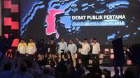 Debat Pilkada Sulsel 2018 yang berlangsung di Makassar, Sulawesi Selatan, Rabu (28/3/2018) malam. (Liputan6.com/Eka Hakim)
