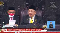 Ketua MPR Bambang Soesatyo saat Sidang Tahunan MPR 2021 di Jakarta.