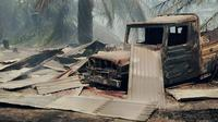 Menurut warga Rokan Hilir, kebakaran lahan gambut tahun ini lebih parah dari 2014 karena api sampai masuk permukiman. (Liputan6.com/M Syukur)