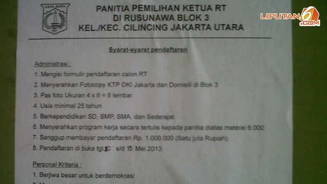 Dipungut Rp 1 Juta Pemilihan Ketua Rt Rusun Marunda Sepi