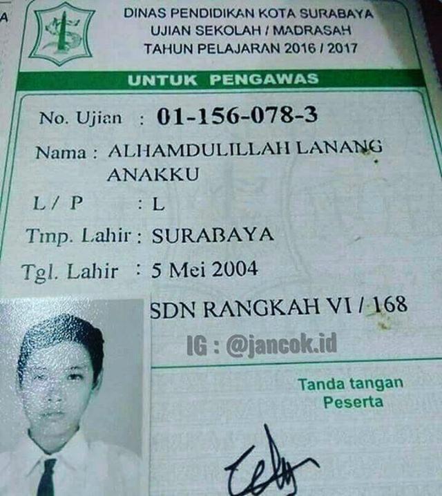 Nama seorang anak di Surabaya yang lagi viral di sosial media | Photo: Copyright KapanLagi.com