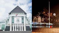 Kantor Gubernur Sulbar rusak parah akibat gempa bumi susulan yang melanda kawasan itu, Jumat dini hari (15/1/2021). (Liputan6.com/ Rajab Umar)