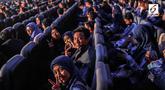 Peserta Emtek Goes To Campus (EGTC) 2018 memadati Auditorium Kampus Timur, Universitas Kristen Petra, Surabaya, Rabu (14/11). Gelaran EGTC ini juga akan menjadi ajang berbagi pengetahuan antar praktisi untuk para mahasiwa. (Liputan6.com/Faizal Fanani)