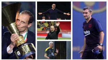 Kombinasi foto lima pelatih top dunia dengan segudang prestasi yang kini masih belum mendapatkan klub. (Foto: AFP)
