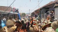 Ratusan warga di Kampung Cikareumbi, Kecamatan Lembang, terlibat dalam tradisi perang tomat, Minggu (13/10/2019). (Liputan6.com/Huyogo Simbolon)