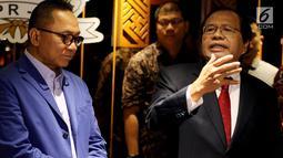 Mantan Menko Kemaritiman, Rizal Ramli memberikan keterangan usai menemui Ketua MPR, Zulkifli Hasan di Kompleks Parlemen, Jakarta, Kamis (3/5). Selain membahas politik pencitraan, Rizal dan Zulkifli juga membahas desentralisasi. (Liputan6.com/Johan Tallo)