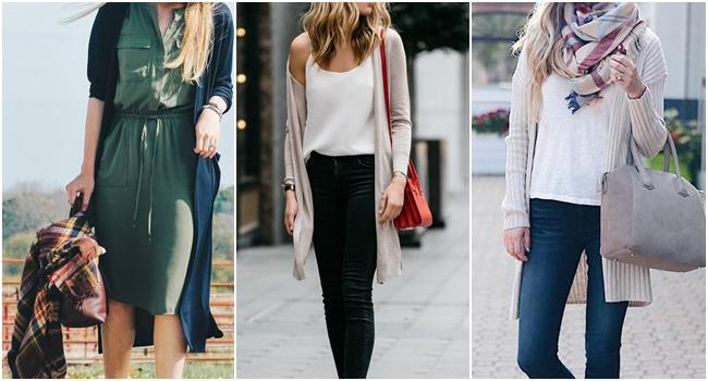 Berbagai gaya dengan kardigan panjang./Copyright pinterest.com