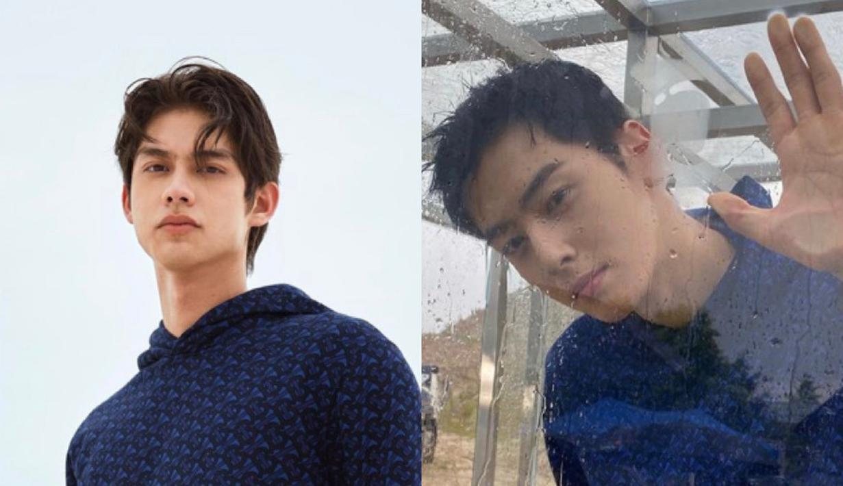 Bright Vachirawit sama Cha Eun Wo mengenakan hoodie navy dari Burberry, keduanya sama-sama menggunakan pants hitam. Dok. Burberry