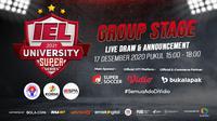 Live streaming pengundian group stage IEL University Super Series Season 3, Kamis (17/12/2020) pukul 15.00 WIB dapat disaksikan melalui platform Vidio, laman Bola.com, dan juga Bola.net. (Dok. Vidio)