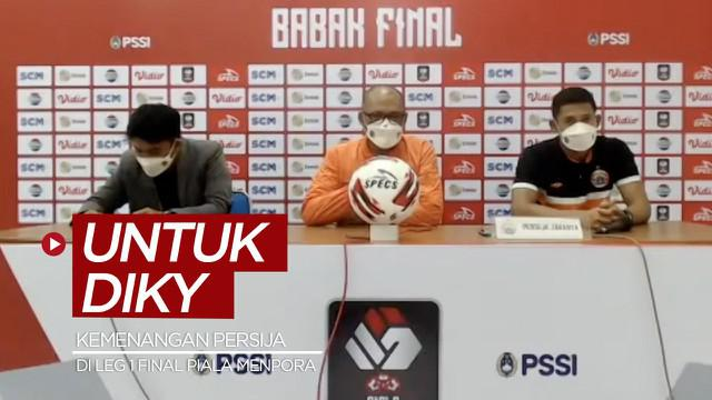 Berita video kemenangan Persija Jakarta atas Persib Bandung di leg 1 Final Piala Menpora 2021 untuk ketua The Jakmania disampaikan di konferensi pers setelah laga, Kamis (22/4/2021) malam hari WIB.