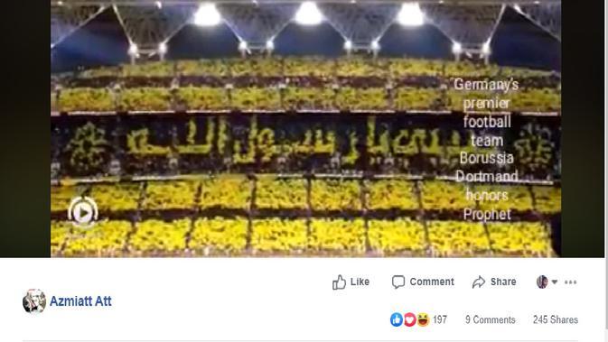 Cek Fakta - Suporter Borussia Dortmund Bentuk Konfigurasi Rasulullah? (Facebook)