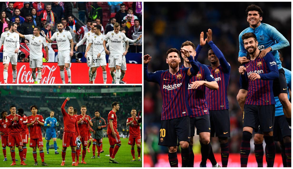 Barcelona dan sembilan klub ini memiliki label bintang lima pada game FIFA 19 dengan overall rating sekitar 86 hingga 83. Tanpa Manchester United, berikut deretan klub dengan bintang lima di game FIFA 19. (Kolase foto dari AFP)