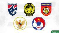 Logo-logo timnas peraih emas cabang sepak bola. (Bola.com/Dody Iryawan)