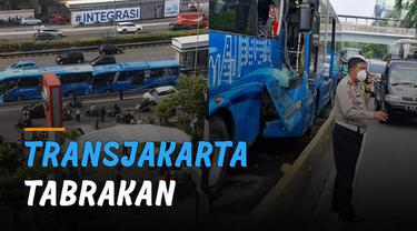 Dua unit bus TransJakarta alami kecelakaan di ruas Jalan MT Haryono.