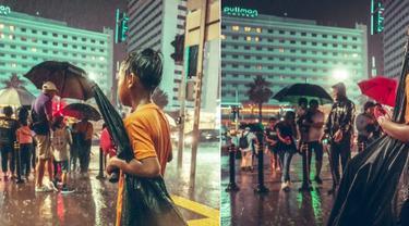 bocah pengojek payung yang fotonya viral