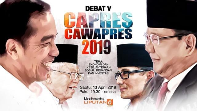 Debat kelima Pilpres 2019 akan berlangsung di Hotel Sultan, Jakarta pada Sabtu 13 April 2019.