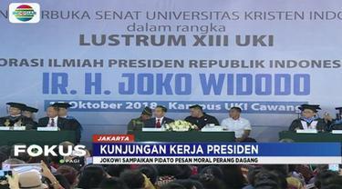 Hadiri dies natalis Universitas Kristen Indonesia, Presiden Jokowi sampaikan pesan  perang dagang antar-negara berbahaya bagi siklus kehidupan