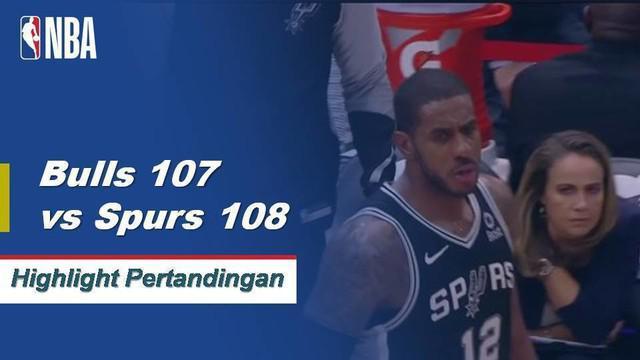 DeMar DeRozan mencetak 21 poin bagi Spurs dalam kemenangan dekat melawan Bulls 108-107.
