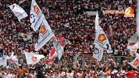 Minggu (23/03/14), ribuan simpatisan Partai Gerindra memadati Stadion GBK Jakarta (Liputan6.com/Helmi Fithriansyah)