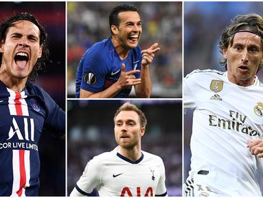 Berikut ini 7 pemain yang kontraknya akan segera berakhir bersama klubnya. Diantaranya adalah Luka Modric, Edinson Cavani dan Christian Eriksen. (Foto Kolase AFP)