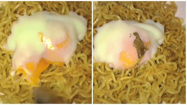 Viral, Wanita Ini Masak Mie Goreng dan Telur Pakai Lembaran Emas 24 Karat