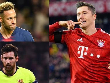 Lewandowski tetap berada di puncak  pencetak gol di Liga Champions musim 2018/19. Lewi hanya berselisih dua gol saja dari Lionel Messi. (Kolase Foto AFP)