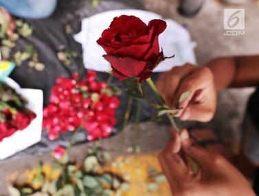 Potret Pedagang Mawar Merah Jelang Hari Valentine di Rawa Belong